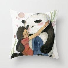 Cuddling with Panda Throw Pillow
