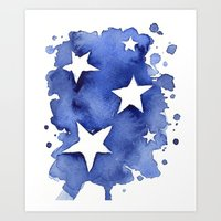 Stars Abstract Blue Watercolor Painting Art Print