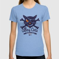 Alley Cats Womens Fitted Tee Tri-Blue SMALL
