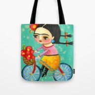 Tote Bag featuring Frida On Her Bike by Tascha