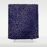 Gold Berry Branches On N… Shower Curtain