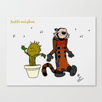 Rocket and Groot Canvas Print