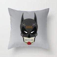 Bat-Man Sugar Skull Throw Pillow