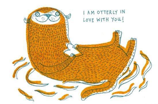 Otterly In Love Art Print
