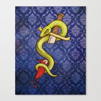 Knife and Snake tattoo print Canvas Print