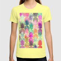 Bright exotic pineapples pastel watercolor pattern Womens Fitted Tee Lemon SMALL