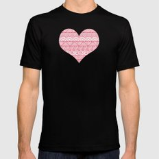 Patterned Hearts Pattern SMALL Black Mens Fitted Tee
