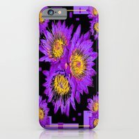 iPhone Cases featuring Purple Cactus  Flowers Modern Black Abstract by sharlesart