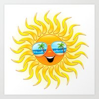 Summer Sun Cartoon with Sunglasses Art Print