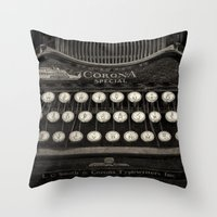Old Typewriter Keyboard Throw Pillow
