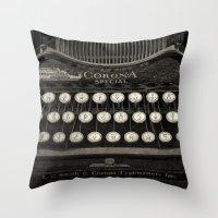 Old Typewriter Keyboard Throw Pillow