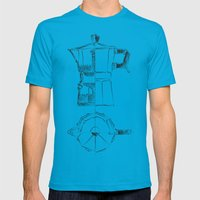 Coffee pot blueprint sketch  Mens Fitted Tee Teal SMALL
