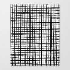 Essie - Grid, Black and White, BW, grid, square, paint, design, art Canvas Print