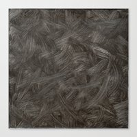 Black And White Brushstrokes Abstract Pattern Modern Canvas Print