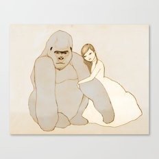 Gorilla and Girl Canvas Print