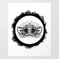 Half Cute Wild Cat Art Print