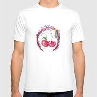Cosmic Cherry Mens Fitted Tee White SMALL