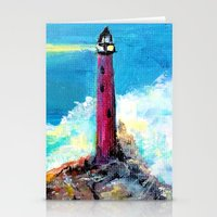 Lighthouse Abstract Painting Stationery Cards