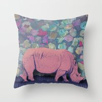 Pink Rhinoceros Collage Throw Pillow