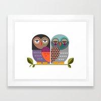 Two Owls Framed Art Print
