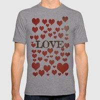 Love Heart Valentines Design  Mens Fitted Tee Athletic Grey SMALL