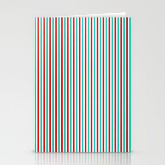 Red and Aqua Vertical Stripes Stationery Card