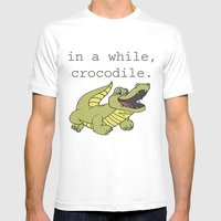 In A While, Crocodile. Mens Fitted Tee White SMALL