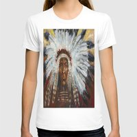 native american T-shirts featuring Native American by Mary J. Welty