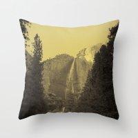Yosemite Falls Tin Yellow Throw Pillow