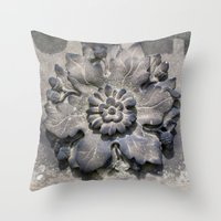 Carved Flower Throw Pillow