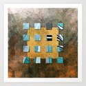 SQUARE AMBIENCE - Blue-golden mixed-media collage Art Print