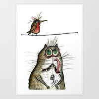 A Cat ponders, fish or poultry? Art Print