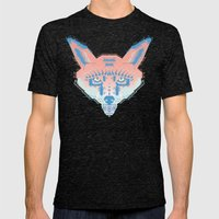 Pastel Fox Pattern Mens Fitted Tee Tri-Black SMALL