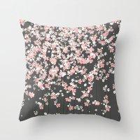Black background Pink Shidare Zakura Throw Pillow
