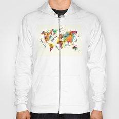 world map art text Hoody
