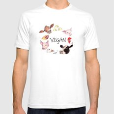 Vegan SMALL Mens Fitted Tee White