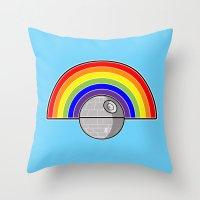 Death Star Rainbow Throw Pillow