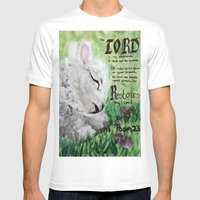 The Lord Restores Psalm 23 Mens Fitted Tee White SMALL