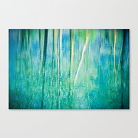Abstract birches reflections II Canvas Print
