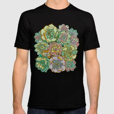 Blooming Succulents Mens Fitted Tee Black SMALL