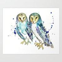 Blue Owls Art Print