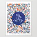 Stay Curious – Navy & Coral Art Print