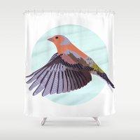 Chaffinch In Flight Shower Curtain