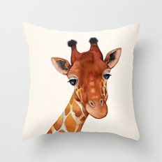 Giraffe Watercolor Throw Pillow
