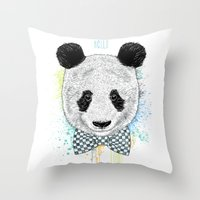 Hello Panda Throw Pillow