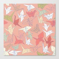 Paper Cranes- Peach Canvas Print