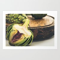 Artichokes On Old Cutting Board Art Print