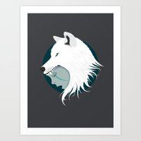 Boy Cries Wolf (White) Art Print
