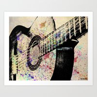 guitar Art Prints featuring Guitar by Del Vecchio Art by Aureo Del Vecchio
