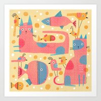 ALL-OVER WITH BUBBLES Art Print
